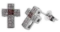 Sterling Silver Stud Earrings with Clear & Brown Micro Pave Iced Out Cross