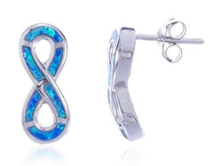 Sterling Silver Stud Earrings Created Blue Opal Infinity