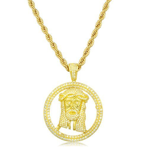 925 Gold Plated Sterling Silver Jesus Piece in Halo Pendant with Cz Stones and a 30 Inch Brass Rope Necklace