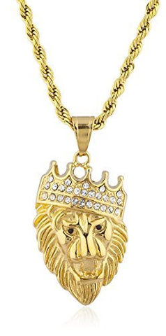 Stainless Steel Goldtone Crowned Lion Pendant with 23.5 Inch Rope Chain
