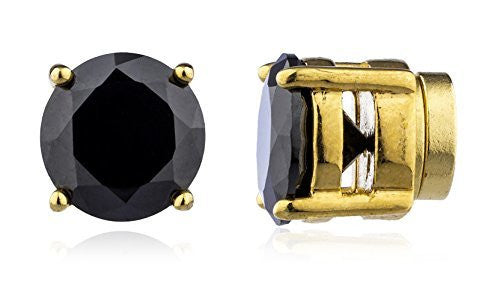 Goldtone with Black Cz Round Magnetic Stud Earrings - 4mm to 12mm Available