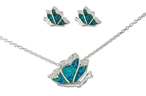 925 Sterling Silver Turquoise Created Opal Butterfly Necklace with Matching Stud Earrings Jewelry Set