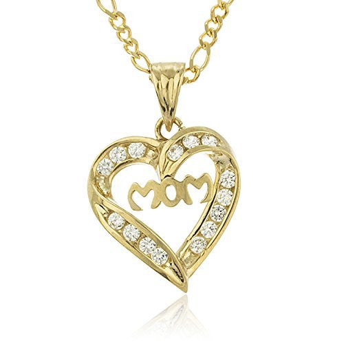 Real 10k Yellow Gold Mom Heart Pendant with Cubic Zirconia Stones and an 18 inch Gold Layered Link Chain Necklace