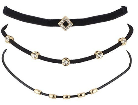 Set of Three Chokers Set (Thin Goldtone Beaded, Diamond Shaped with Stones, Multi Stone Choker)