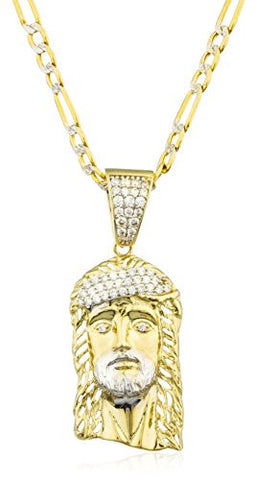10k Yellow Gold Jesus Piece Head Pendant with Cz Stone & a 10k 24 Inch Pave Figaro Chain