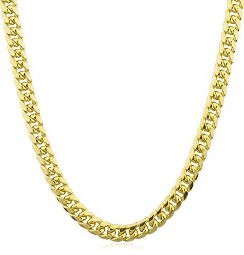 14K Yellow Gold Necklace Miami Cuban Hollow Chain 7mm - 13.2mm