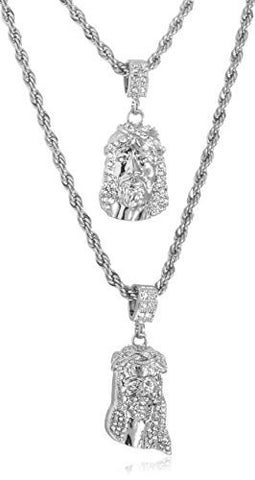 Double Layer Necklace with Iced Out Jesus Piece Pendants 24-28 Inch Rope Chain Necklace (Silvertone)