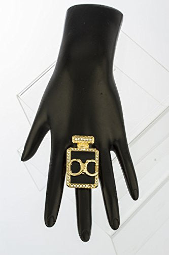 Goldtone Handcuff Perfume Bottle Stretch Ring...