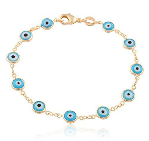 Two Year Warranty Gold Overlay with Light Blue Mini Evil Eye Style 7.5 Inch Clasp Bracelet