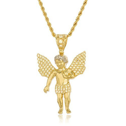 10K Yellow Gold Cherub Angel with Cz Stones Pendant and a 3mm 24 Inch Brass Rope Chain Necklace