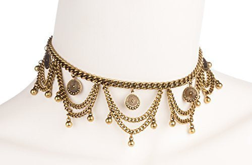 Antique Design Multiple Link Dangling Choker with Round Charms and Adjustable Closer