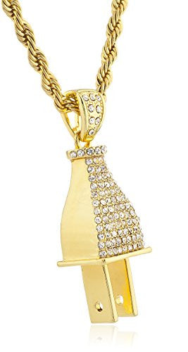 Goldtone Iced Out 'The Plug' Pendant...