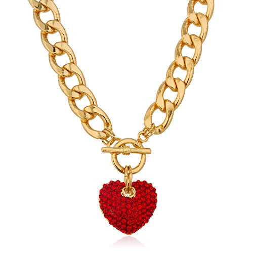 Goldtone with Red Iced Out 3D Heart Pendant with a 16 Inch Link Chain Necklace