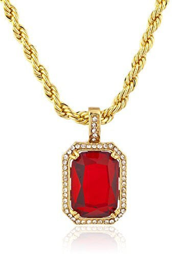 Red Faux Stone Octagon Micro Pendant with 25 Inch Rope Necklace - Available in Goldtone or Silvertone