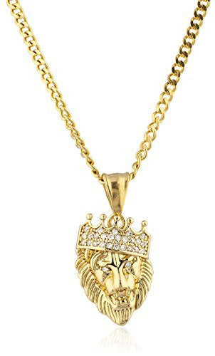 Stainless Steel Goldtone Micro Lion with Crown Pendant with 24 Inch Cuban Chain