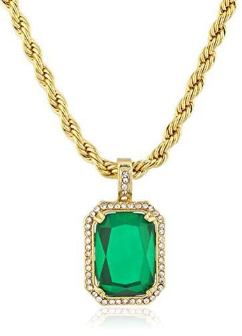 Men's Rope Chain Necklace with Green Faux Stone Micro Pendant - Available in Goldtone or Silvertone