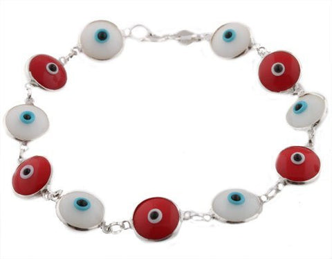 Alternating Red with White Real 925 Sterling Silver 7 Inch Evil Eye Bracelet