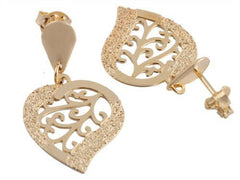 3 Pairs of Small Gold Overlay Frosted Heart with Center Design 1.25 Inch Studded Drop - Two Year Warranty