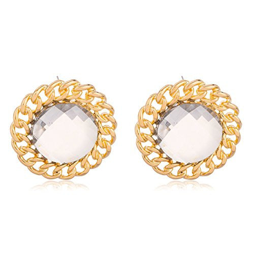 Goldtone 'Crystal Clear' Cuban Sunflower Earrings...