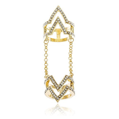 Goldtone Iced Out Chevron Full Finger 'V' with Clear Stones Midi Finger Ring