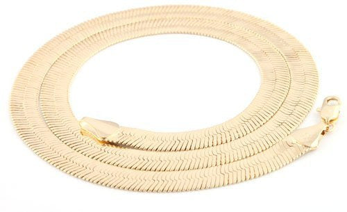Goldtone 11mm Brass Herringbone Chain Necklace - Available in all Lengths