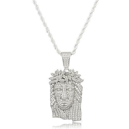 925 Sterling Silver Small Jesus Piece Pendant with Clear Cz Stones and a 3mm Brass Rope Necklace (24 inches)