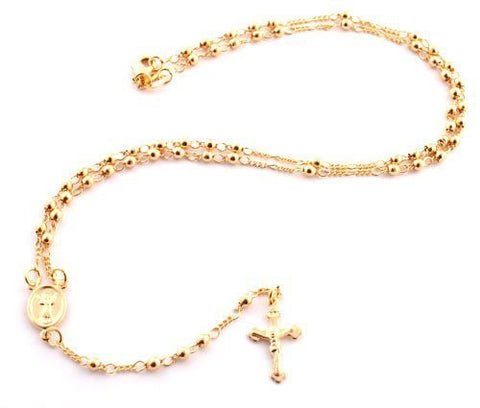 Two Year Warranty Gold Overlay Rosary Jesus Piece On The Cross Pendant & Open Arms Charm 18 Inch Necklace