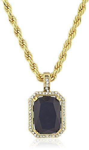 "Men's Rope 24"" Chain Necklace with Black Faux Stone Micro Pendant - Available in Goldtone or Silvertone"