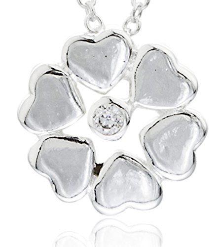 925 Sterling Heart Shape Flower Pendant...