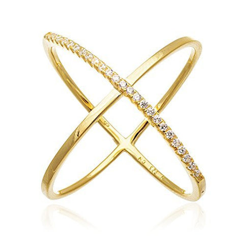 "925 Sterling Silver Elegant Criss Cross ""X"" Ring with Stones (8, yellow-gold-plated-silver)"