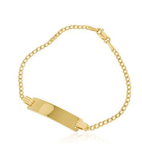 Real 14k Yellow Gold 6 Inch ID Bar Baby Cuban Bracelet