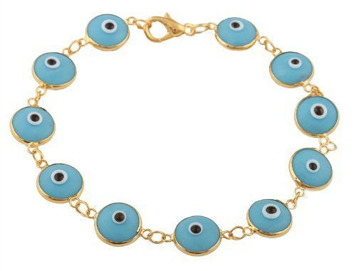 Gold Overlay With Light Blue Evil Eye Clasp Bracelet