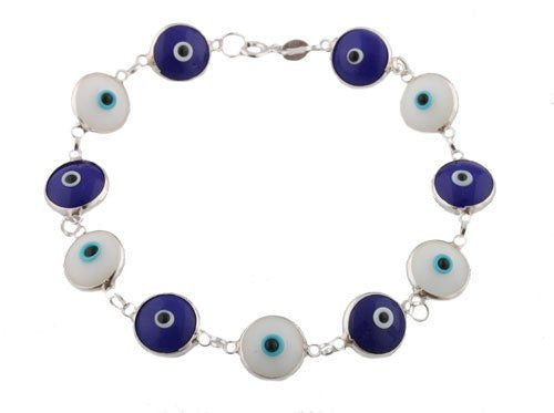 Alternating White & Dark Blue 925 Sterling Silver 7 Inch Evil Eye Bracelet