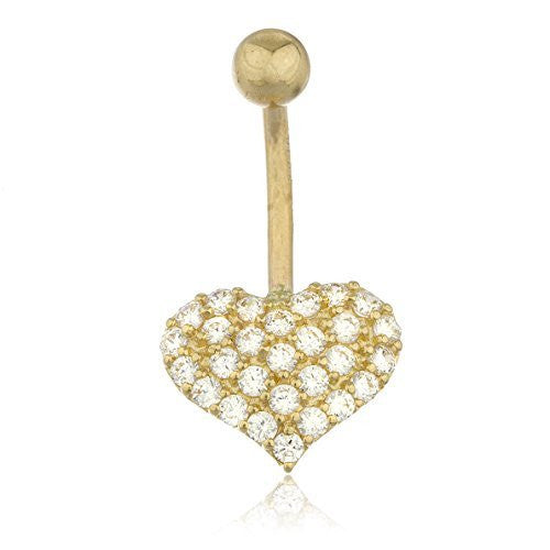 Real 10k Yellow Gold Cz Heart Belly Button Piercing