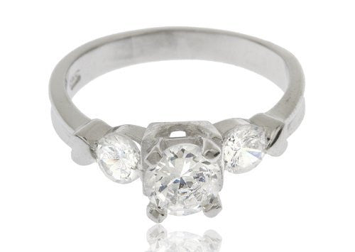 925 Sterling Silver Cubic Zirconia Round...