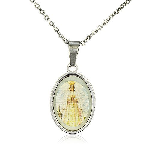Stainless Steel 19 Inch Adjustable Necklace with Our Lady of Rosary Pendant