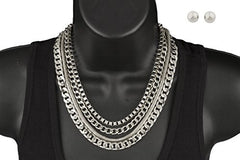 Silvertone 17-24 Inch Adjustable Assorted Necklace Chain Combo and Matching Ball Earrings Jewelry Set