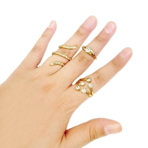 Multi Stacked Midi and Finger Ring Set (Silvertone)