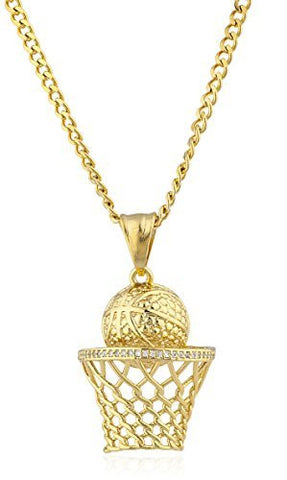 Stainless Steel Goldtone Basketball Hoop Pendant with 24 Inch Cuban Chain
