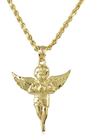 10k Yellow Gold Angel and a 2mm 24 Inch 10k Gold Rope Chain