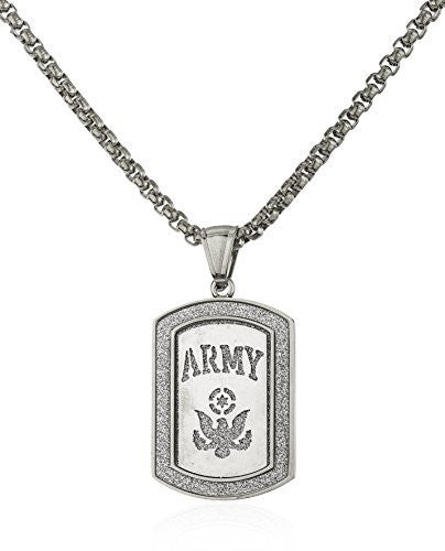 Stainless Steel Army Sandblast Pendant with a 24 Inch Round Box Chain (Silvertone)
