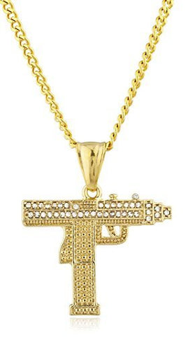 Stainless Steel Goldtone Gun Pendant with 24 Inch Cuban Chain