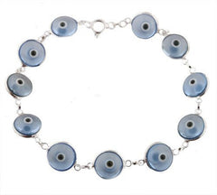 Transparent Blue 925 Sterling Silver 7 Inch Evil Eye Bracelet