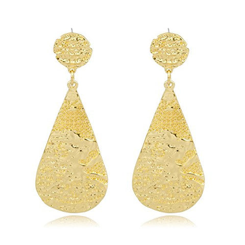 Goldtone Nugget Style Tear Drop Earrings