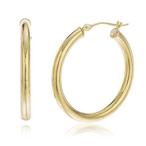14k Yellow Gold 3mm Hoop Earrings Basic Pincatch 35mm