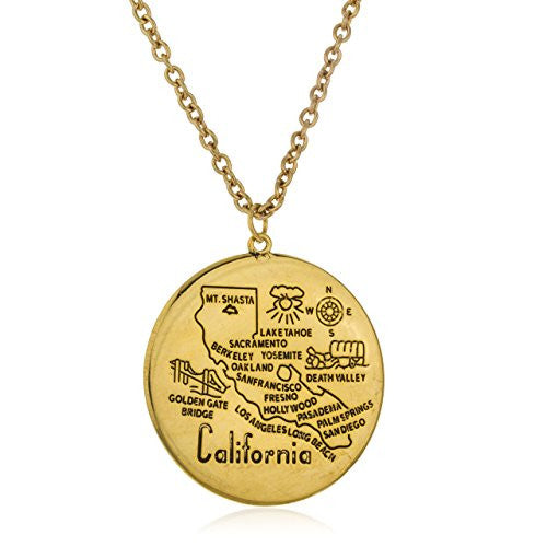 Goldtone Large California Circle Pendant with...