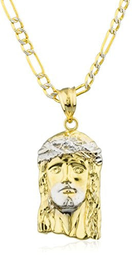 10k Yellow Gold Jesus Piece Head Pendant with a 10k 24 Inch Pave Figaro Chain