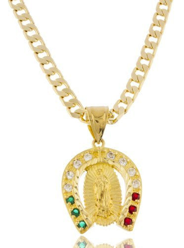 Goldtone Brass Our Lady of Guadalupe...