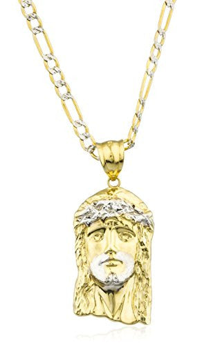 10k Gold Jesus Piece Head Pendant with a 10k 24 Inch Pave Figaro Chain