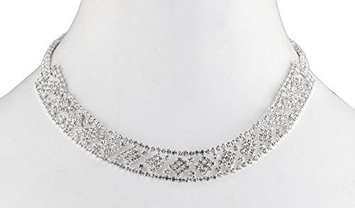 Ladies Bridal Fancy Diamond Shapped Design Adjustable Choker Necklace